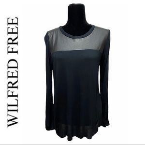 Wilfred Free Black Long Sleeve Faux Leather Top